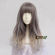60CM Lolita Multi-Color Ombre Long Wavy Hair Cosplay Cute Wig Party Neat Bang
