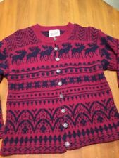 WOOLRICH Fair Isle Cardigan Nordic Silver Buttons Sweater M Moose Classic Red