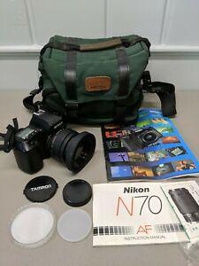 Nikon N70 SLR Film Camera Body 24-70mm 1:3.3-5.6 Tamron AF Aspherical Lens Bag