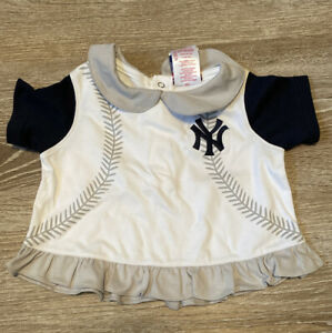 New York Yankees Baseball Majestic Baby Girl Ruffle Peplum Top Shirt 12 M NWT