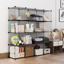 LANGRIA 12-cube Storage Shelving Rack DIY Wire Grid Bookcase Organiser Toy Shelf