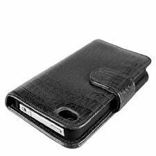 Black Luxury Crocodile Card Slot Wallet Leather Cover Case For iPhone 4 4G 4S