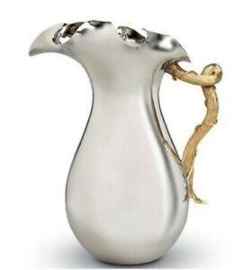 L'Objet Ruffelle Pitcher Small Polished Silver 24kt Gold Handle Ruffle Top New