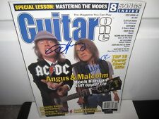 AC/DC SIGNED GUITAR ONE MAGAZINE AUTOGRAPH MALCOLM YOUNG ANGUS JOHNSON PROOF