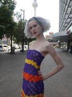 Häkelkleid KLEID S-M 70er MAXI Psychedelic Unikat TRUE VINTAGE knit dress 70s