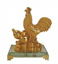 Rubber Finished Golden Rooster Statue with Wu Lou and Coins