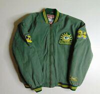 VTG Nutmeg Men XL Green Bay Packers Jacket Sterling Sharpe Quilted Football 90s