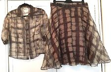 Armand Ventilo Silk Brown Gold Shirt And Skirt Set 12 Retro Rockabilly 50s Pearl