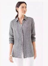 J.Jill     Linen   shirt      XL     NWT   $79   Essential Linen  BLACK WHITE