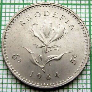 RHODESIA ELIZABETH II 1964 6 PENCE - 5 CENTS, FLAME LILY FLOWER, UNC