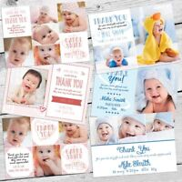 Baby Kids Christmas Photo Thank You Cards Personalised Boy Girl Postcard Style