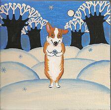 5x5 Print Of Painting Pembroke Welsh Corgi Ryta Snowflake Folk Art New Year Xmas