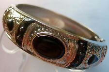 Vintage Style Black Acrylic Alloy Metal Bangle Bracelet Wrist Jewelry