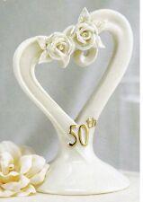 50th Golden Anniversary Porcelain Pearl Glazed Rose Gift Cake Cake Top Topper