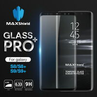 Galaxy S7 Edge S8 S9 Plus MAXSHIELD 4D Tempered Glass FullCover Screen Protector