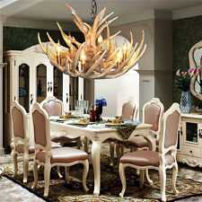 Vintage Antler Chandelier Light Retro Deer Horn Restaurant Pendant Lamp LED Lamp