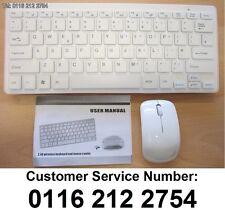 "White Wireless MINI Keyboard & Mouse for JVC LT-24C661 Smart 24"" LED TV White HD"