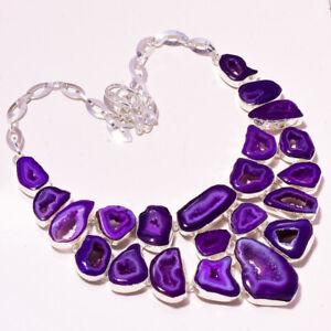 "Purple Botswana Agate Gemstone Fashion Ethnic Jewelry Necklace 17-18"" BN-1827"