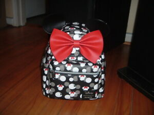 LOUNGEFLY DISNEY MINNIE MOUSE AOP MINI BACKPACK~ WITH TAGS~BRAND NEW~