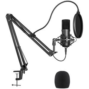 USB Streaming Podcast PC Microphone, Studio Condenser Mic Kit