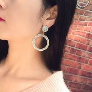 Beautiful Silver Circle Stud Dangle Earrings Made With Swarovski Crystals