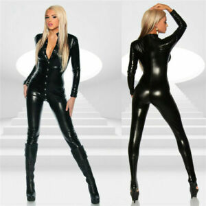 PVC bodysuit catsuit, Black, wet look Spandex Buttons on the front Size M 8/10