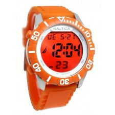 NEW NAUTICA NSR SILVER+ORANGE TONE,ORANGE SILICONE BAND,CHRONO WATCH-N09927G