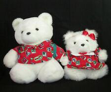 Vintage Santa Bear & Ms Bear World Traveler Plush 1993 Christmas Dayton Hudson