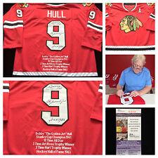 Bobby Hull Chicago Blackhawks Signed Autograph Stat NHL Hockey Jersey JSA COA