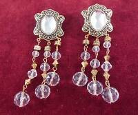 Vintage Long Gold Tone Faux Crystal Dangle Drop Chandelier Pierced Earrings