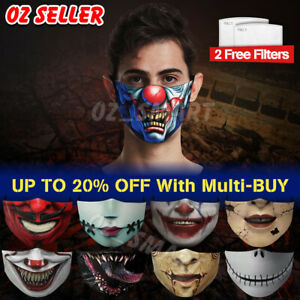 Motorcycle Face Mask Funny Scary Fashion Washable Reusable Face Cover Horror