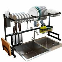2-Tier Over the Sink Dish Drying Rack Stainless Steel Drainer Kitchen Storage
