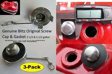 3pk USMC Blitz Metal Jerry Gas Can Screw Cap +Gskt 2.5 1.5 Gallon 9.5 5.7L STIHL