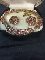 Vintage Signed Hattie Carnegie Demi-Parure Necklace Earring Pink and grey Set
