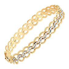 Eternity Gold Interlocking Circles Chain Bracelet,10K Gold with Rhodium Plating