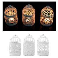 Hollow Lantern Vintage Tealight Bird Cage Hanging Candlestick Holder Home Decor