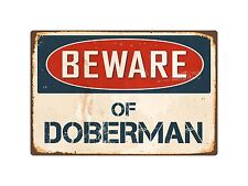 "Beware Of Doberman 8"" x 12"" Vintage Aluminum Retro Metal Sign Vs138"
