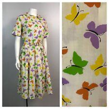 Vintage 1960s Cotton Butterfly Novelty Print Dress Set Blouse & Skirt 2 Piece XS