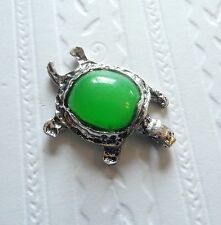 Fashion Pendant--Turtle- Silver Color-Green  Bead for Shell