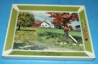 Framed Picture w Farm House & Barn Thermometer Rising City, Nebr. Joe's Texaco