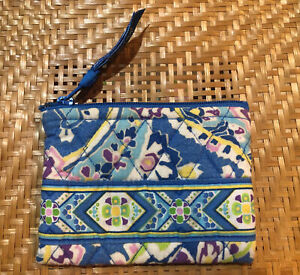 Vera Bradley Accessory Case Pouch Capri Blue Retired Pattern 2007 Quilted Zipper