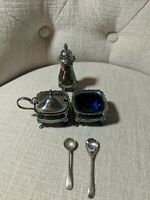 Vintage Regis England Silver Plate EPNS Salts Set w/Cobalts & Pepper Set in box