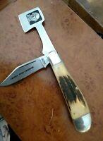 VINTAGE 1981 Taylor Cutlery Japan Cherry Tree Chopper Knife/ ELK HORN SCALES