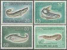 Timbres Poissons Laos 156/9 ** lot 14033