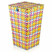 Large Rattan Laundry Basket & Lid Woven Multi-Colour Washing Bin Clothes Hamper
