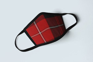 Clan Cunningham Tartan Face Mask Scottish Family Plaid Covering Red White Mask
