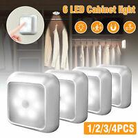 6LED Motion Sensor Closet Light Wireless Night Wall Cabinet Battery Power Indoor