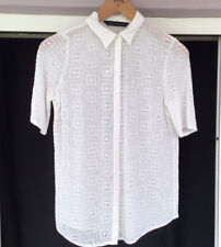 Zara Broderie Anglaise Shirt Size S 8 10 White Floral Tile Print Blouse Cut Out