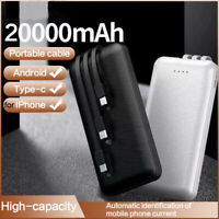 20000mAh Portable Power Bank Fast Charging Powerbank Built in 3 Cables Chager
