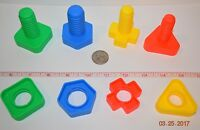 4 BRIGHT COLORFUL PLASTIC NUTS & BOLTS BIRD PARROT FOOT TOY PART MANIPULATIVE